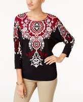 JM Collection Petite Embellished Printed Top, Created for Macy's