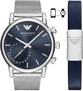 Emporio Armani Men's Connected Stainless Steel Mesh Bracelet Hybrid Smart Watch 43mm Gift Set