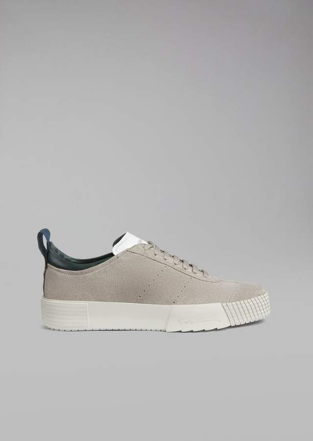 Giorgio Armani Suede Leather Sneakers With Logo Heel Detail