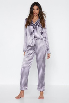 Nasty Gal Womens Mark the Spot Polka Dot Top and Trousers Pyjama Set - purple - S
