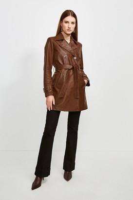 Karen Millen 3/4 Length Leather Trench Coat