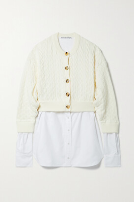 alexanderwang.t - Layered Cotton-blend And Cotton Oxford Cardigan - Ivory
