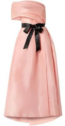 Monique Lhuillier Draped One-shoulder Silk Gown