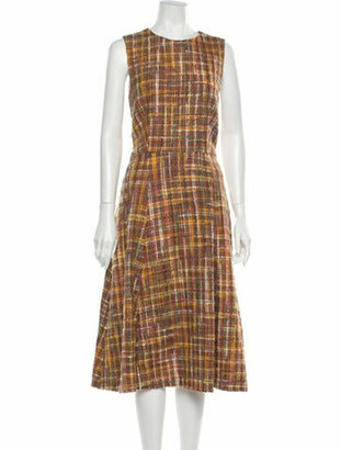 Adam Lippes Plaid Print Midi Length Dress Pink