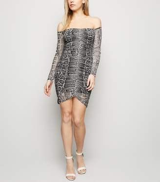 New Look Light Snake Print Mesh Ruched Front Dress
