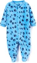 Sweet & Soft Blue Paw Prints Fleece Footie - Infant