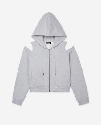 The Kooples Black zipped sweatshirt with open shoulders