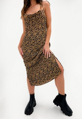 Missguided Stone Leopard Crinkle Cowl Midi Dress