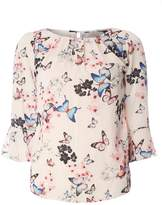 **Billie & Blossom Ivory Butterfly Print Blouse