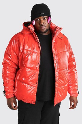 boohoo Mens Red Plus Size MAN Dash High Shine Hooded Puffer, Red