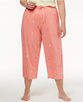 Hue Plus Size Printed Cotton Knit Capri Pajama Pants