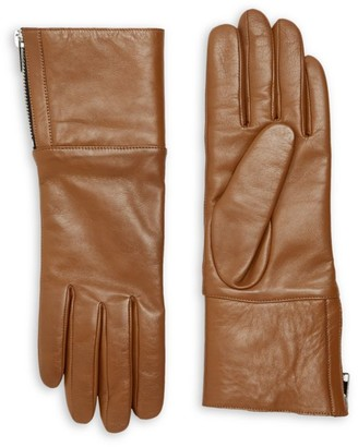 Carolina Amato Touch Tech Leather & Shearling Gloves