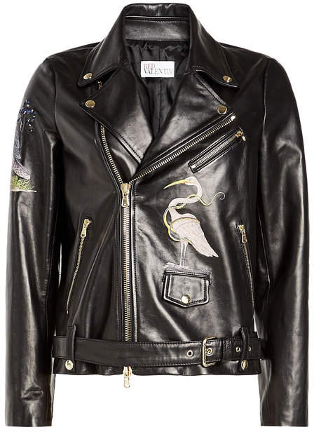 RED Valentino Embroidered Leather Biker Jacket