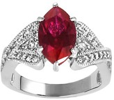 Journee Collection 2 1/3 CT. T.W. Marquise-cut Garnet Cubic Zirconia Bridal Prong Set Ring in Sterling Silver - Red
