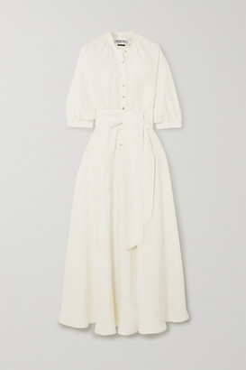 ÀCHEVAL PAMPA Argentina Belted Satin-twill Maxi Dress - White