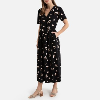 La Redoute Collections Floral Wrapover Midi Dress with Short Sleeves and Pockets