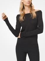 Michael Kors Metallic Knit Off-the-Shoulder Sweater