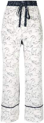 Lee Mathews Pony print silk trousers