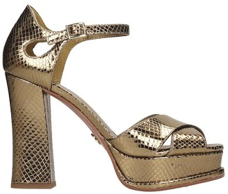 Michael Kors Elana Platform Sandals In Gold Leather