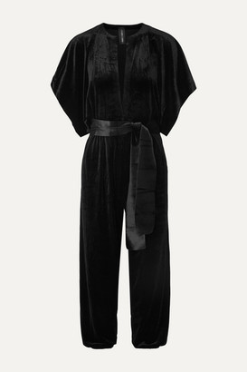 Norma Kamali Cropped Stretch-velvet Jumpsuit