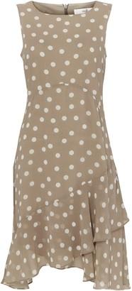 Wallis PETITE Taupe Spot Print Hanky Hem Dress