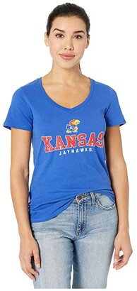 Champion College Kansas Jayhawks University V-Neck Tee (Royal 4) Women's T Shirt