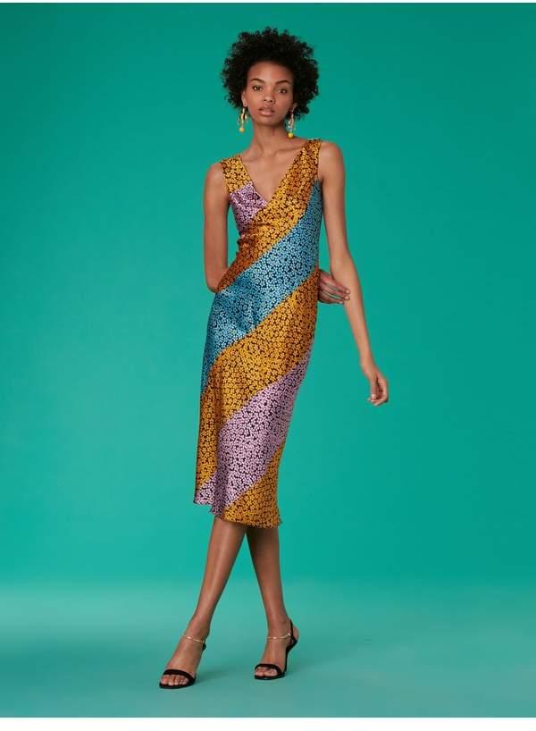 Diane von Furstenberg Bias Midi Satin Dress