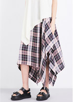 Pringle Tartan-print draped satin skirt