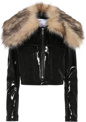 Paco Rabanne Faux fur-trimmed vinyl jacket