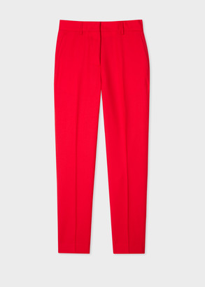 Paul Smith A Suit To Travel In - Women's Slim-Fit Red Wool Pants