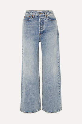 RE/DONE 60s Extreme Cropped High-rise Wide-leg Jeans - Light denim