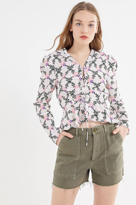 The East Order Edi Floral Lace-Up Blouse