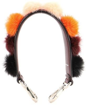 Fendi Pom Pom Mini Strap You Short Shoulder Strap Leather and Fur
