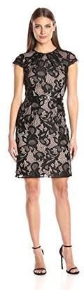 Sandra Darren Women's 1 Pc Cap Sleeve Illusion Lace Sheath Dress
