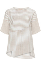Isolde Roth Plus Size Striped linen-blend tunic
