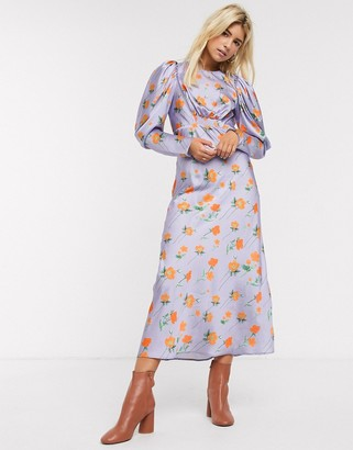 Asos Design DESIGN satin maxi dress with puff sleeves in lilac floral print