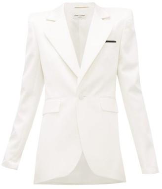 Saint Laurent Single-breasted Silk-blend Satin Blazer - White