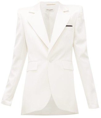 Saint Laurent Single-breasted Silk-blend Satin Blazer - Womens - White