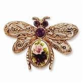 goldia -tone Dark Purple Crystal/floral Decal Bee Pin