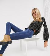Topshop Tall spot print tea blouse in black
