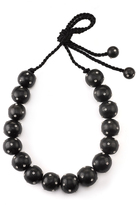 Josie Natori Acacia Wood With Silver Long Round Necklace