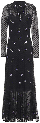 Markus Lupfer Embellished Embroidered Point D'esprit Maxi Dress