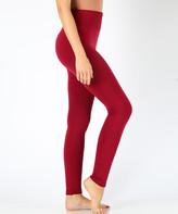 Zenana Women's Leggings CABERNET_IPB - Cabernet Fleece-Lined Leggings - Women & Plus