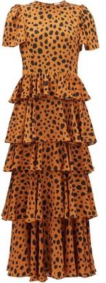 Rhode Resort Serena Cheetah-print Tiered Georgette Dress - Leopard