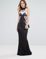 Jessica Wright Fishtail Maxi Dress With Floral Placement