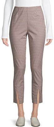 Frame Plaid Stretch-Cotton Cropped Pants