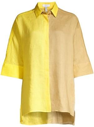 Escada Sport Oversized Two-Tone Linen Shirt