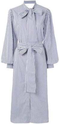 MSGM Striped Midi Shirt Dress