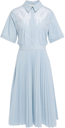 Maje Rivers Cutout Embroidered Poplin Shirt Midi Dress