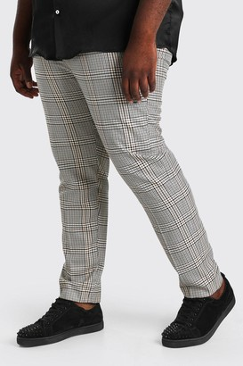boohoo Mens Brown Plus Size Skinny Dogtooth Trouser With Chain, Brown
